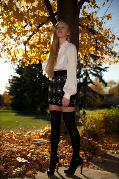 black House of Holland skirt - white Alice  Olivia blouse - black asos socks - b