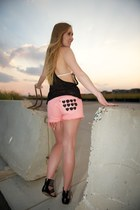 black tank mesh top - white bikini Scalloped top - salmon pocket heart shorts