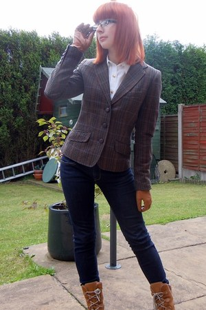 dark brown H&M blazer - navy Polo Ralph Lauren jeans