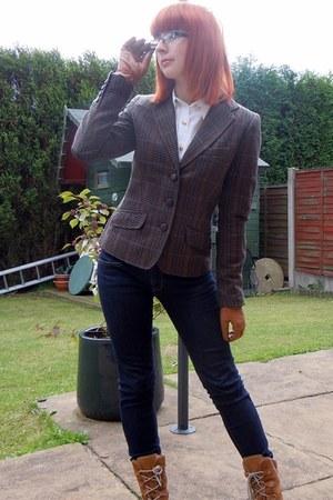 dark brown H&M blazer - navy Polo Ralph Lauren jeans