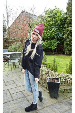 black Urban Outfitters boots - sky blue River Island jeans