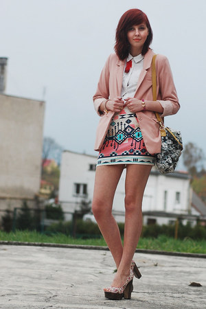 light pink H&amp;M blazer - white H&amp;M shirt - salmon Bershka skirt