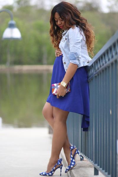 blue Miu Miu heels - navy asoscom dress - periwinkle Levis jacket