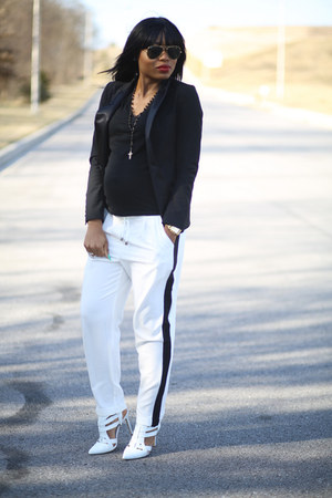 black H&M blazer - black Forever21 top - white tuxedo asos pants