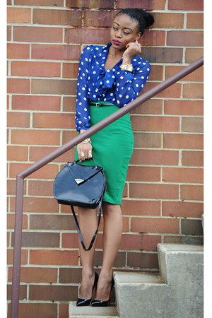 polka dot H&M top - H&M skirt - Christian Louboutin pumps