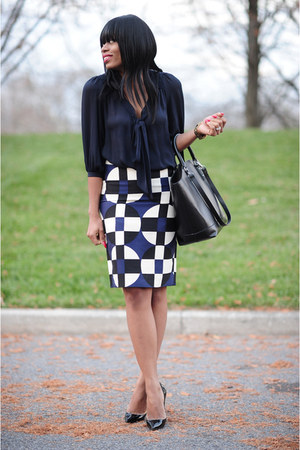 black Zara bag - navy bow Zara blouse - black Christian Louboutin pumps