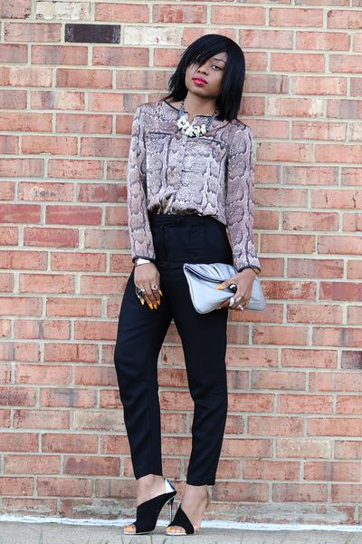 black Zara heels - dark brown snake print H&M blouse - black H&M pants