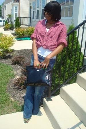 Ninewest purse - H&M jeans - borrowed shirt - Hanes vest