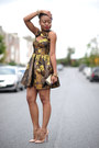 Brown-floral-print-asos-dress-heather-gray-h-m-purse