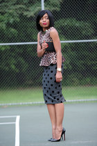 dark brown peplum asos top - charcoal gray polka dots asos skirt