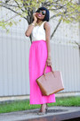 Neutral-h-m-shirt-brown-zara-bag-hot-pink-jcrew-skirt