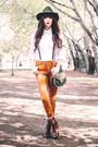 Brown-frye-boots-white-karen-millen-shirt-gold-topshop-pants