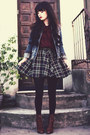 Dark-brown-boots-navy-denim-jacket-white-crow-jacket-brick-red-spiegel-shirt
