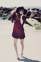 crimson free people dress - black Hatscom hat