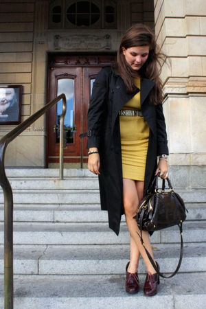 yellow H&M dress - brown Miu Miu bag - black Burberry coat - white Moschino belt