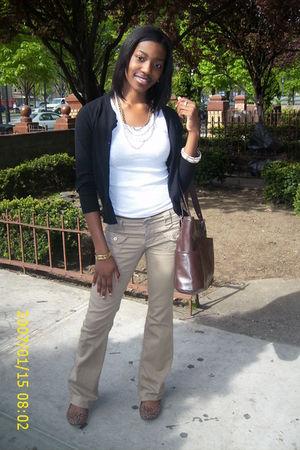 black H&M cardigan - white shirt - brown Aeropostale pants - brown H&M shoes - b