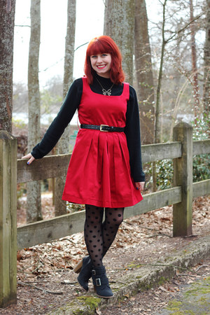 black polka dot Kmart tights - ruby red sleeveless thrifted dress