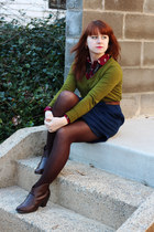 brown high heeled City Classified boots - olive green v-neck Mossimo sweater