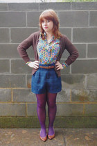 purple nylon joe boxer tights - navy Forever 21 shorts - brown kirra cardigan -
