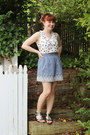 White-modcloth-top-light-blue-chambray-forever-21-skirt
