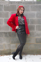 brown Forever 21 blouse - black croft & barrow shoes - red private concepts coat