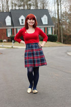 red scoop neck Forever 21 sweater - navy plaid pleated vintage skirt