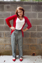gray Willow Ridge pants - red Forever 21 cardigan - white Forever 21 top - gold
