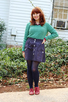 turquoise blue cable knit croft & barrow sweater - red oxford Forever 21 shoes