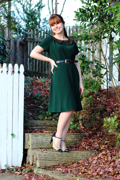 dark green eShakti dress - tan cap toe Xhileration heels