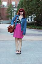 bubble gum pencil vintage skirt - blue denim so jacket