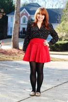 polka dot christian dior blouse - velvet romwe skirt - Xhileration loafers