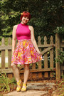 Orange-handmade-skirt-hot-pink-boohoo-top-yellow-sandals-mossimo-wedges