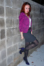 Hot-pink-delias-cardigan-deep-purple-xappeal-shoes-black-betsey-johnson-tigh