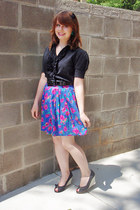 ninety blouse - Claude skirt - peeptoe Victoria Spenser wedges - hair bow Foreve