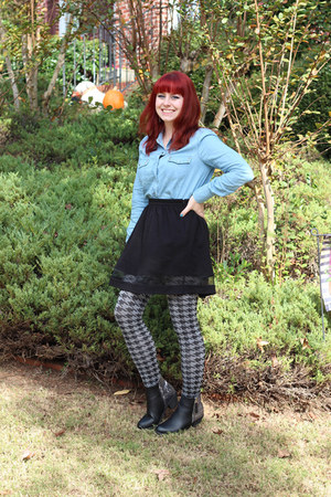 heather gray houndstooth Forever 21 tights - black Boohoo boots