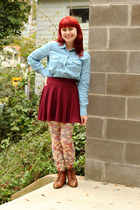 light blue Forever 21 shirt - tawny lace-up ankle thrifted vintage boots