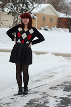 black argyle IZOD sweater - black ankle Boohoo boots