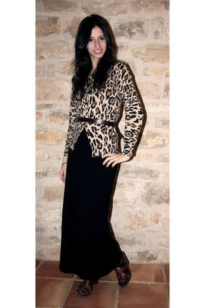 crimson Zara sandals - beige Zara cardigan - black vintage dress