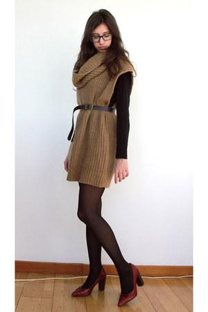burnt orange wool Topshop jumper - brick red elegant Uterqe heels - crimson leat