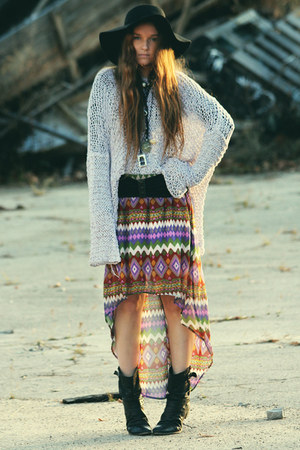 amethyst print skirt Lush skirt - black leather asos boots