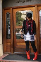 black H&M blazer - white Forever 21 dress - red Goodwill boots - red Market in P