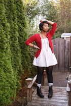 red ann taylor sweater - beige thrifted dress - black gift boots - silver H&M so