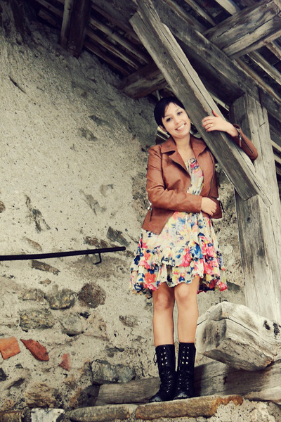 leather Peruzzi jacket - Miss Kg boots - asos dress
