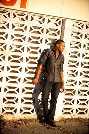 blue Express jeans - gray shirt