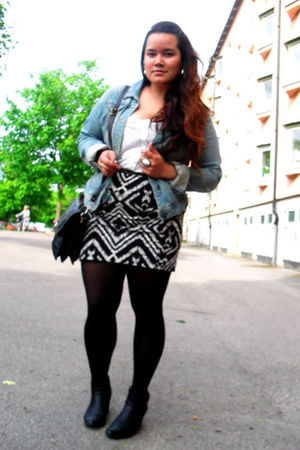 black H&M skirt - black Skopunkten shoes - white H&M top - blue Only jacket - bl