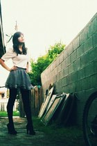 Forever 21 skirt - Report shoes - Forever 21 tights - thrifted shirt