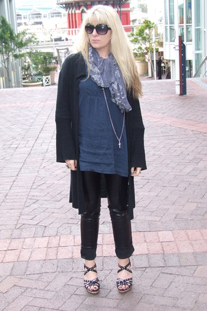 black 34 cardigan - blue 34 shirt - gray skull scarf scarf - black faux leather