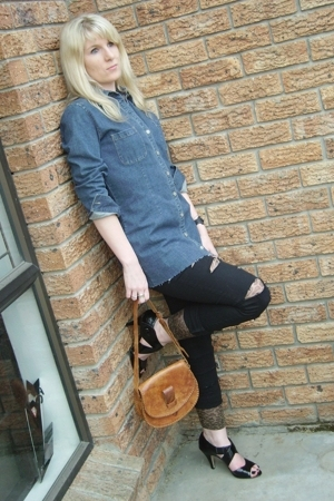 diy denim Vinatge shirt - leopard print Edgars leggings - black - black Luella