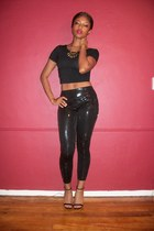 black sequins Armani Exchange leggings - black American Apparel top