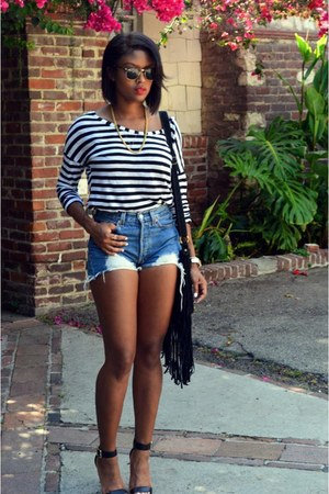 blue denim DIY cutoffs shorts - black Steve Madden heels